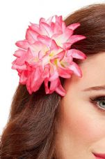 Tropical Hawaiian Pink Flower Hair Clip